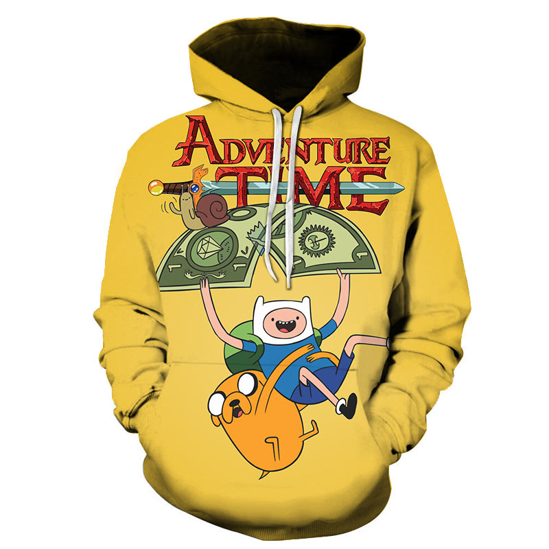 Hot Sale Adventure Time Hoodies Sweatshirts 3D Print Fashion Cartoon Yellow Hoodie Cool Hoodie For Men's Kawaii Size S-6XL