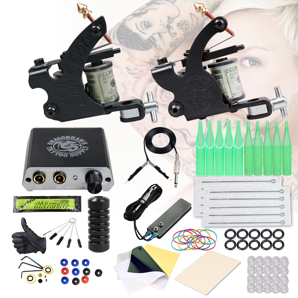 Beginner Complete Tattoo Kit 2 Machines Gun Set Power Supply Grips Body Art Tools Set Permanent Makeup Tattoo Set