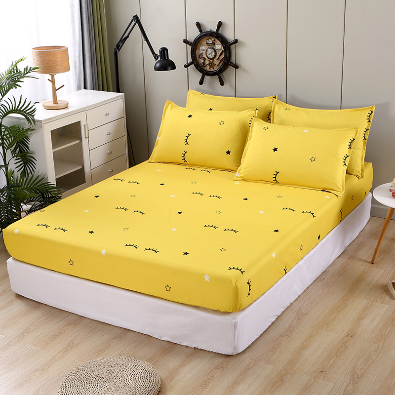 Bonenjoy 3 pcs Fitted Bed Sheets Single drap de lit Geometric Pattern Stitching Mattress Cover with elastic For Double Bed Sheet 10
