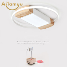 Creative Wood Geometric LED Ceiling Lamps Modern Living Room Bedroom Aisle Light Indoor Lighting Fixture