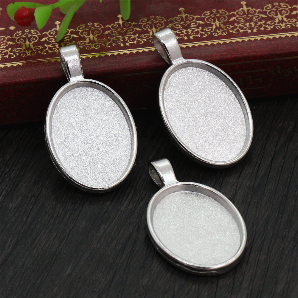 4pcs 18x25mm Inner Size Rhodium Plating Classic Style  Cameo Cabochon Base Setting Charms Pendant Necklace Findings  (C2-55)
