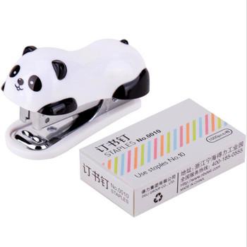 Mini Panda zszywacz zestaw Kawaii Panda tektura spoiwa w ciągu 1000 sztuk zszywki materiały biurowe szkolne tanie i dobre opinie Santtiwodo ZK246 3 0cm Mini zszywacz 1000PCS Instrukcja 2-12 Metal Nr 10 6*3 5*2 5cm Mini Panda Stapler Set School Office Supplies