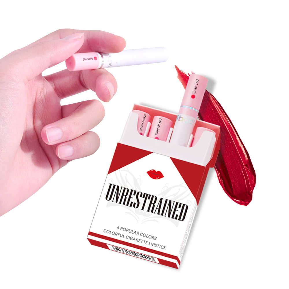 Nouveau créatif 4 couleurs mat Cigarette Tube rouge à lèvres ensemble longue durée étanche mat Cigarette lèvre Stick nu rouge lèvres maquillage