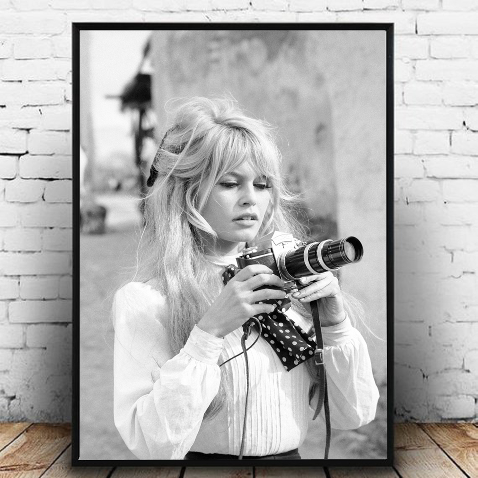 Black-and-White-Famous-Model-Photo-Vintage-Picture-Art-Painting-Wall-Decor-Brigitte-Bardot-French-Fashion