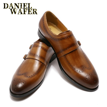Luxury Men Loafers Shoes Brogue Wing tip Monk Strap Slip On Brown Black Formal Man Dress Office Wedding Casual Men Leather Shoes luxury italian oxfords genuine leather shoes brogue fashion wing tip black brown lace up wedding office dress men formal shoes