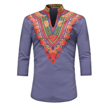 Men's muslim clothing stand-up collar African Turk characteristic printed sleeve kaftan man T-shirt Top Islam Clothes