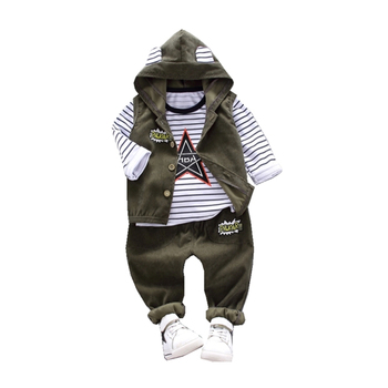3pcs baby boys clothes sets winter fall birthday outfit toddler cloth kids sport suit for boys cotton warm hoody vest 0 6 years Spring Autumn Children Baby Casual Hooded Vest Pants 3pcs/sets Infant Sports Clothes Outfit Toddler Suits Boys Kids Tracksuits