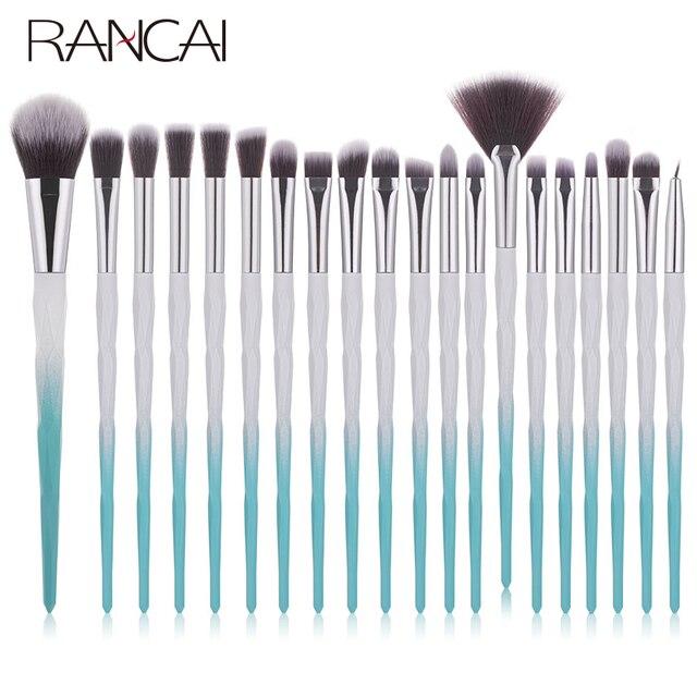 RANCAI 20pcs Makeup Brushes Set Foundation Powder Blush Eyeshadow Sponge Wool Fiber Hair Small Fan Brush Cosmetic Brushes Tools 1
