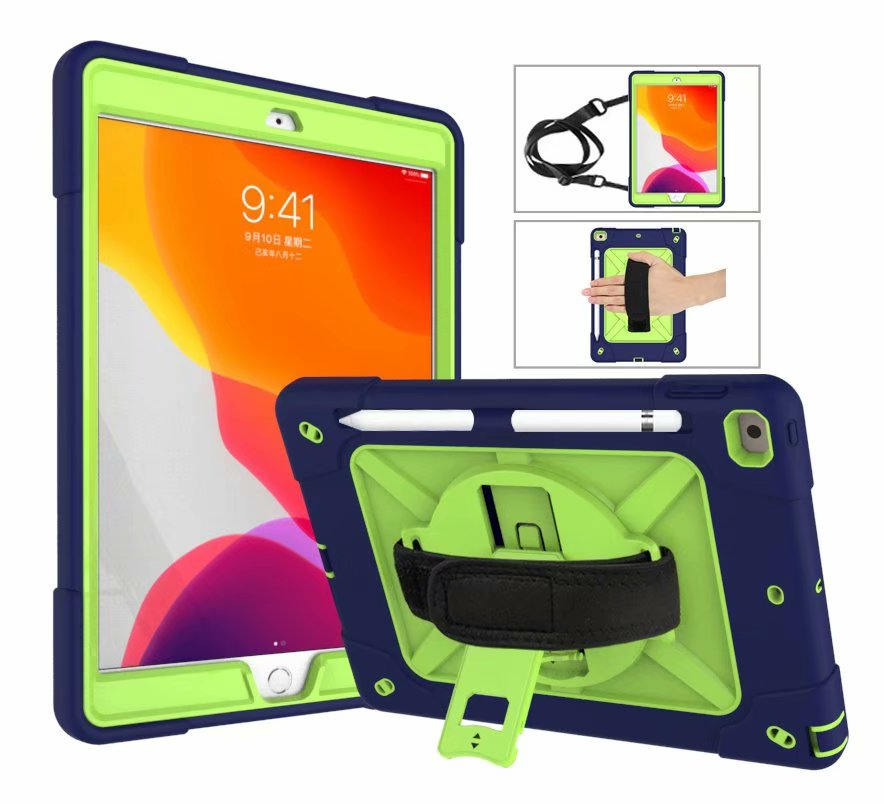 1 White For iPad 8th Generation Case 2020 Pencil Holder Heavy Duty Rugged Shockproof Hybrid Armor Case Hand
