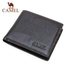 Camel carteira masculina de couro legítimo, carteira masculina compacta feita em couro legítimo com design de camel, estilo curto e casual