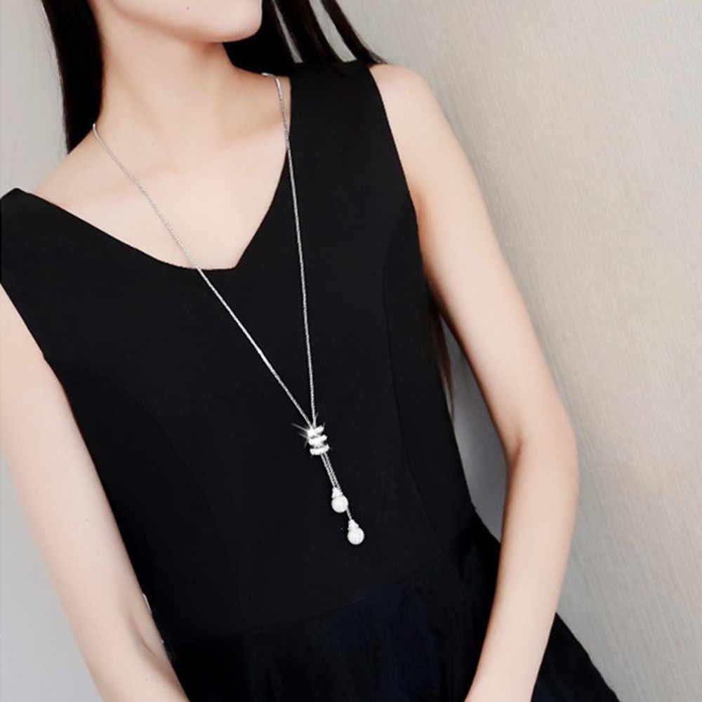 אלגנטי גבירותיי אופנה קסם קריסטל פניני תליון שרשרת יוקרה ארוך שרשרת סוודר שרשרות תכשיטים