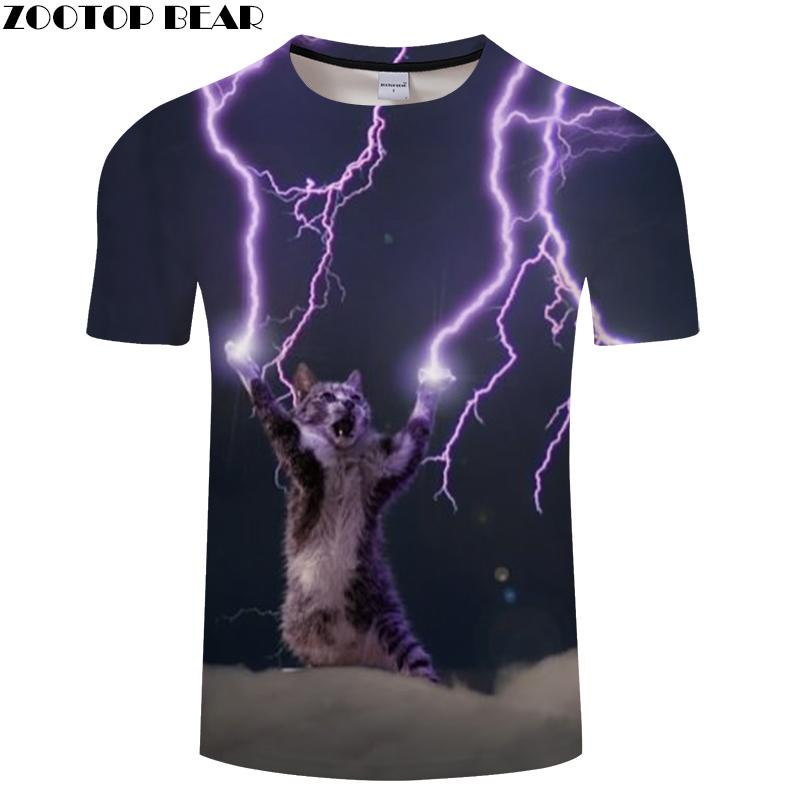 Cat&Lightning 3D Print T Shirt Men Women Tshirts Summer Casual Short Sleeve O-neck Tops&Tees Camisetas Drop Ship ZOOTOP BEAR