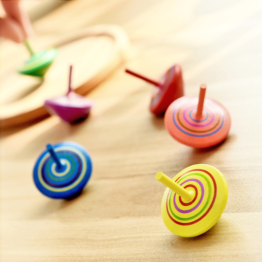 10pcs Color Random Children Wooden Gyro Desktop Decompression Toys Kindergarten Promotion Gifts