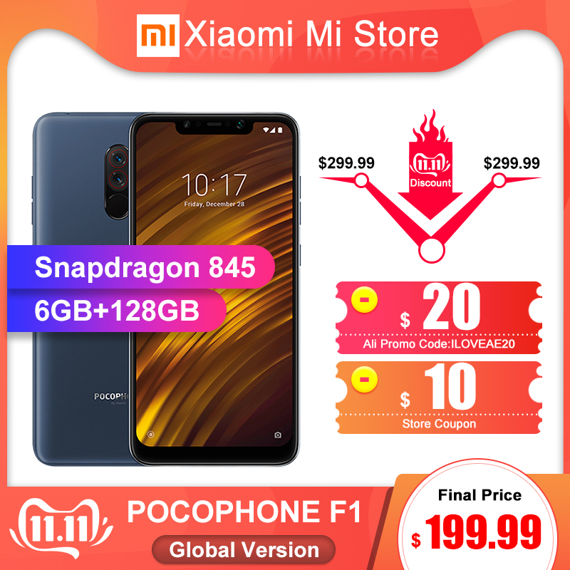 In Stock Global Version Xiaomi POCOPHONE F1 6GB 128GB Smartphone Snapdragon 845 6.18