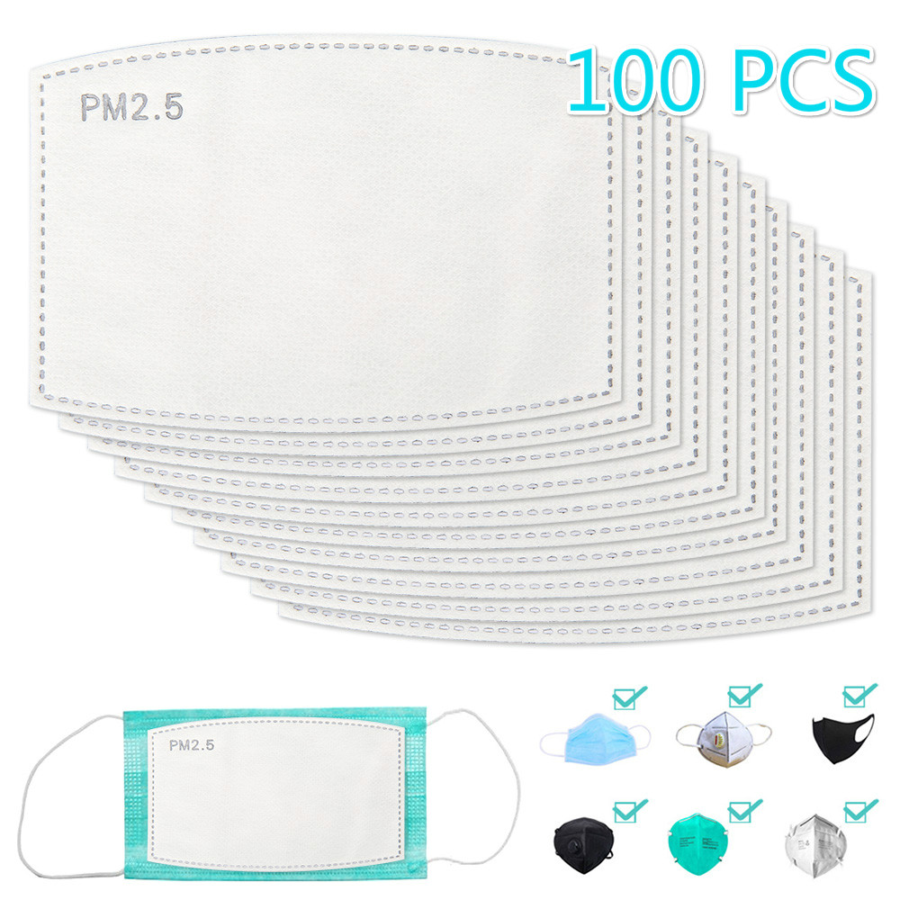 100pcs Disposable Face Masks Pad Replacement Filtering Breathable 5 Layer PM2.5 Dust Mask Filter For Mask