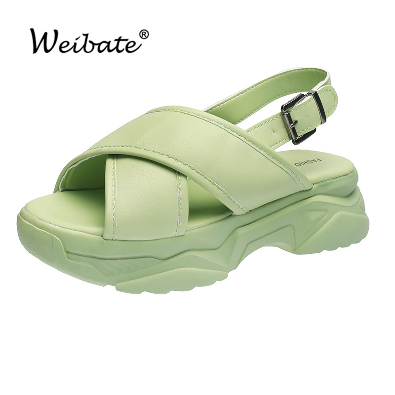 WEIBATE Leather Women's Sandals Seaside Summer Vacation Flat Sandals Women Wear Fashion Sandals Thick Bottom Wild Women's Shoes