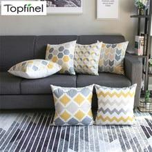 Topfinel – Housses de coussin décoratives avec motif géométrique moderne, pour canapé et fauteuils, voiture, 45x45 cm, couleur gris et jaune