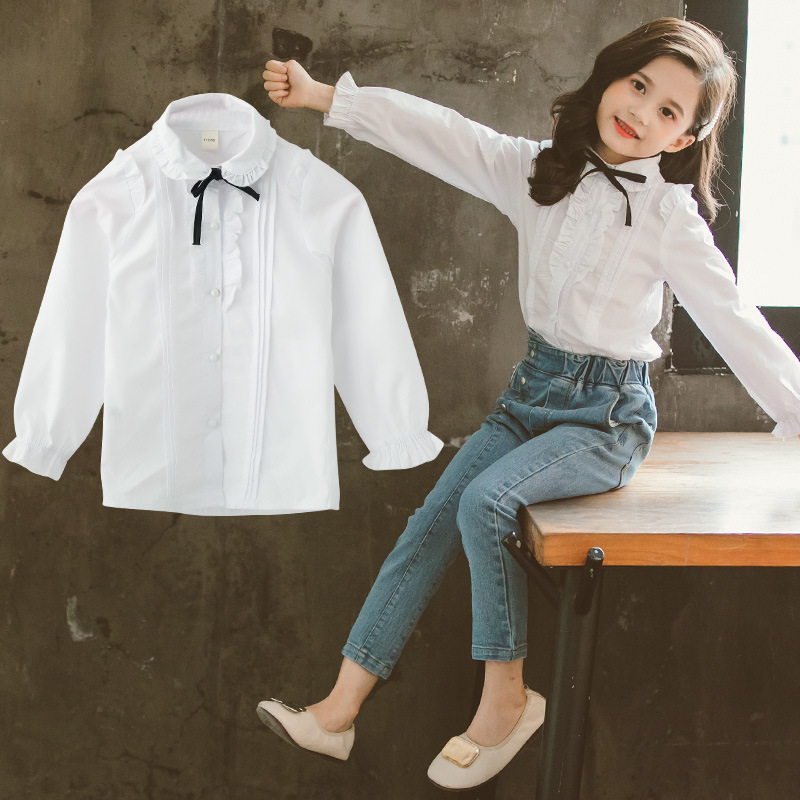 Kids Blouse for Girls 2019 Autumn Back To School Shirts Cotton White Blouse Girl Princess Bottom Bow Tops Teen Shirts 6 10 12Y