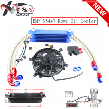 AN10 7 row oil cooler 7 rows engine radiator for BM W N54 135i 335i oilcake adapter + 7'' oil cooler fan