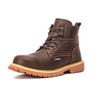 Moda masculina tamanho grande aço toe boné botas de segurança trabalho couro genuíno trabalhador sapatos plataforma tornozelo bota segurança proteger
