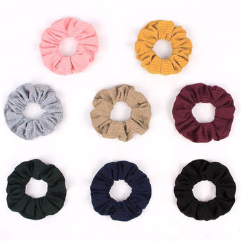 Women Vintage Winter Soft Knitting Hair Scrunchies Big Solid Stretchy Ties Elastic Rubber Bands Simple Gums