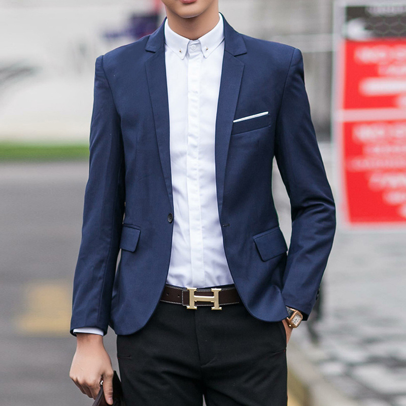 2019 New Style Suit Slim Fit Coat Men's Teenager Fashion Casual Single Row Of A Buckle Applique Single West