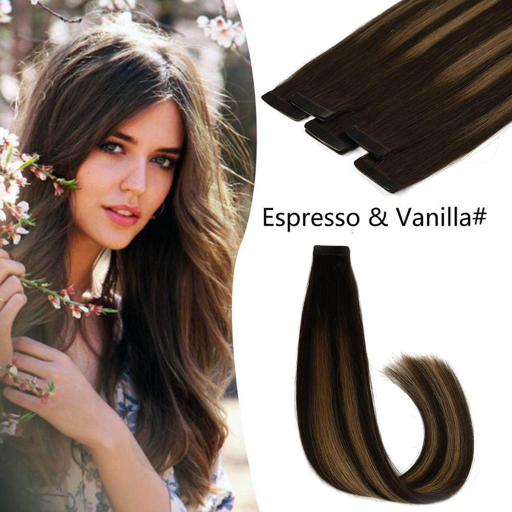 K.S WIGS 2.5g/pc Remy Tape In Human Hair Extensions Straight Double Drawn Adhesive Tape Hair Balayage Espresso & Vanilla 20''