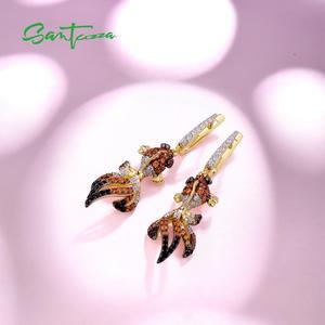 Image 4 - SANTUZZA Silver Gold Fish Earrings For Women 925 Sterling Silver Dangle Earrings Cubic Zirconia  brincos Jewelry