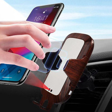 Wood Car Wireless Charger, Phone Holder for iPhone 8 X XS Max XR Apple Watch 4 3 2 1 Airpods Charging Samsung S
