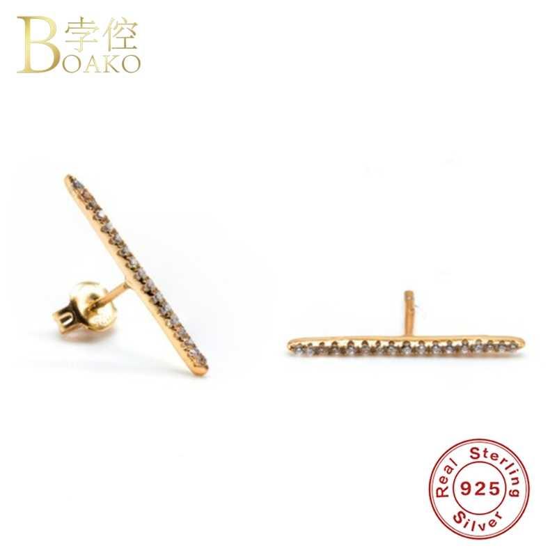 925 Sterling Silver Anting-Anting untuk Wanita Berwarna Zircon Telinga Tulang Anting-Anting Gadis Pelangi Crystal Anting-Anting Wanita Tindik Aretes Z5