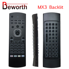 MX3เมาส์Backlit 2.4GHz RFคีย์บอร์ดไร้สายเสียงสมาร์ทรีโมทคอนโทรลIRการเรียนรู้สำหรับAndroid TV Box x96 T9 H96 A95X