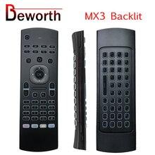 MX3 hava fare arkadan aydınlatmalı 2.4GHz RF kablosuz Mini klavye ses akıllı uzaktan kumanda IR öğrenme Android TV kutusu X96 T9 h96 A95X