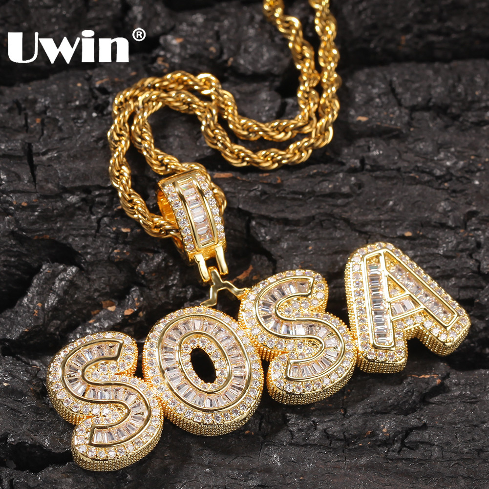 UWIN Custom Charm Iced Cubic Zircon Small Baguette Initial Letters Pendant Necklace Words With 4mm CZ Tennis Chain Jewelry