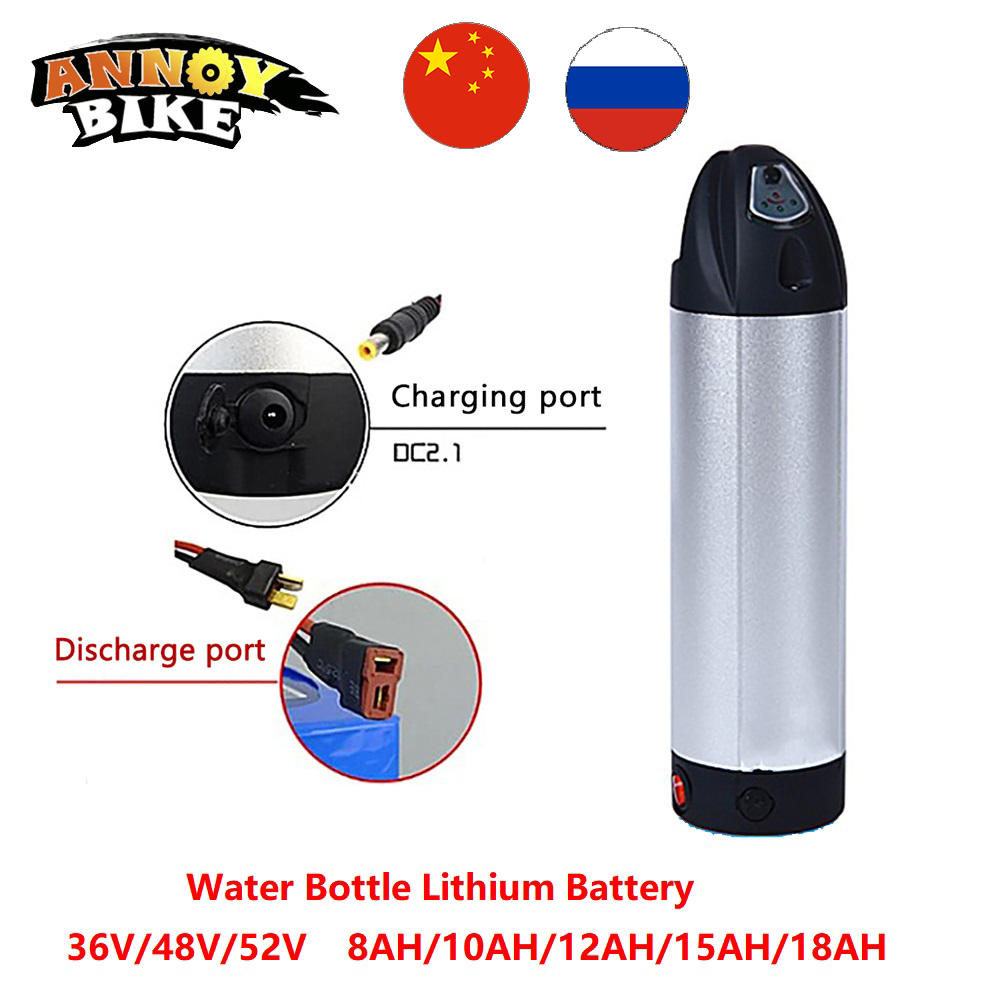 Water Bottle Lithium Battery 36V48V52V 8/10/12/15/18AH Electric Bike Lithium ion eBike Battery Bike Scooter With Charger