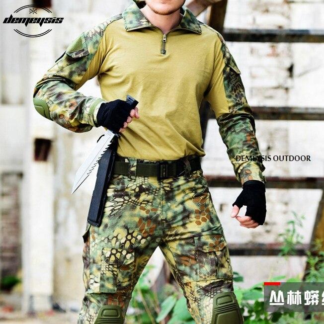Costume de Combat tactique uniforme militaire armée de Camouflage boisé vêtements de jeu de guerre Airsoft chemise + pantalon genouillères coudières - 5