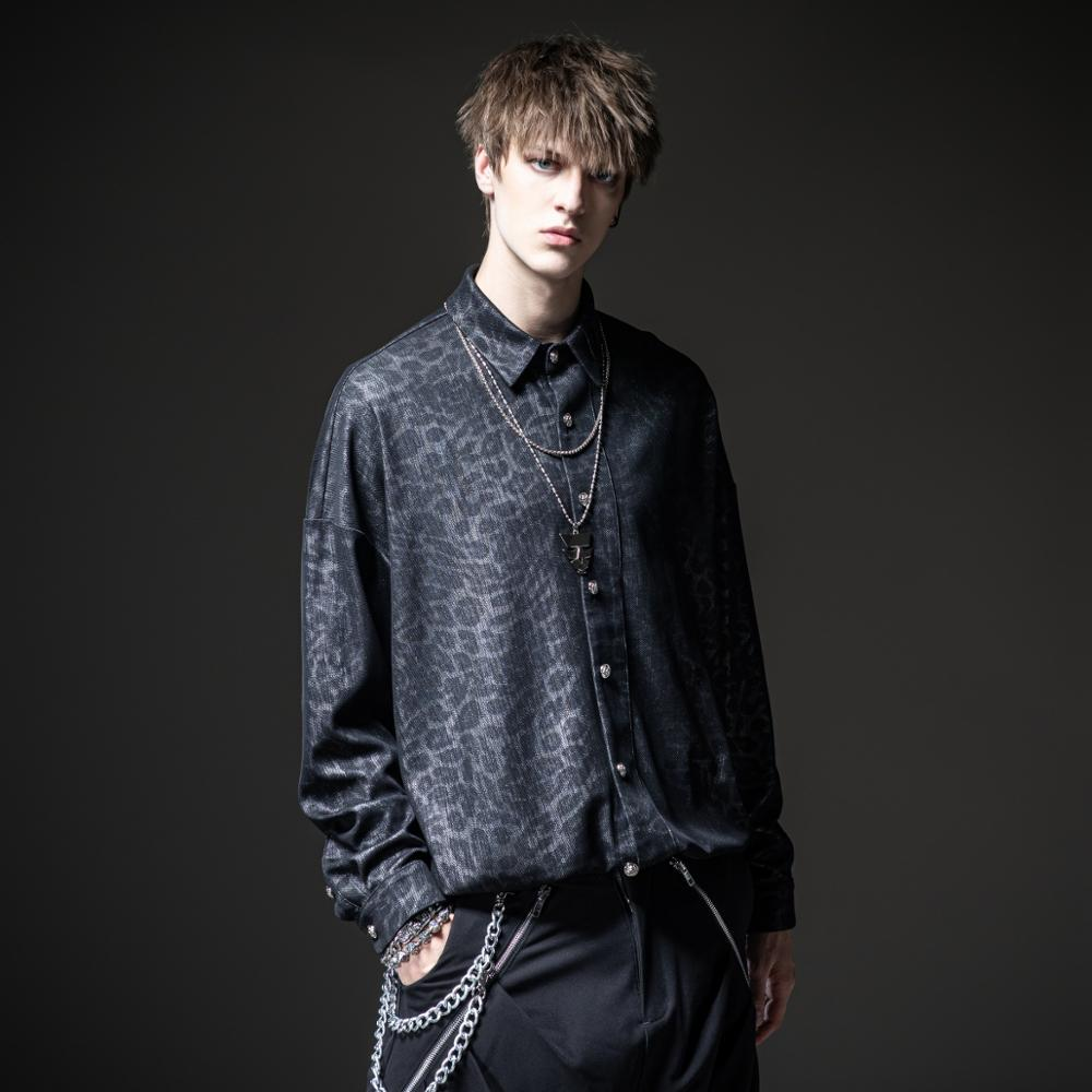 Free shipping new men's male fashion black shine at night 2020 autumn loose jacquard casual long-sleeved shirt BY203113213
