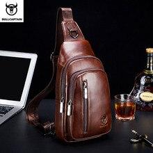 BULLCAPTAIN sac à dos en cuir véritable pour hommes, sacoche multifonctionnelle de poitrine avec musique, sacoche de poitrine, décontracté