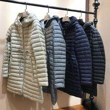 Wysokiej jakości damskie modne oświetlenie i ciepłe kurtki puchowe zimowe z kapturem, na suwak w talii regulowane długie kurtki puchowe odzież codzienna