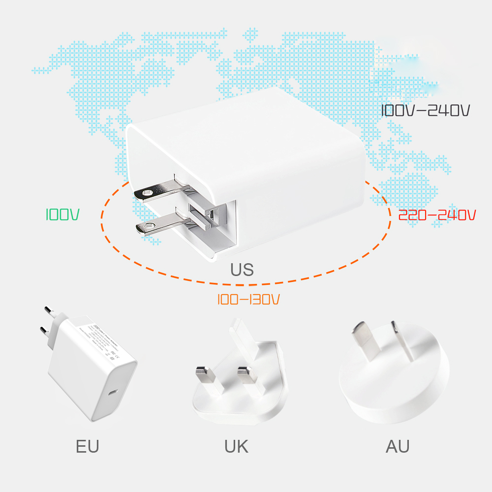 Image 5 - WOTOBE Type C Wall Charger, USB C 65W Power Adapter PD/QC3.0 For MacBook Pro/Air iPad Pro 2018 iPhone For Samsung huawei Nexus-in Mobile Phone Chargers from Cellphones & Telecommunications