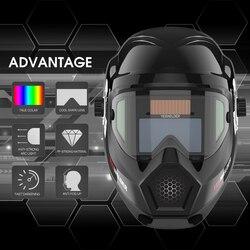 YESWELDER máscara de soldador de forma fresca Color verdadero Anti niebla Up casco de soldadura Solar panorámica 180 vista Auto oscurecimiento LYG-S400S-A