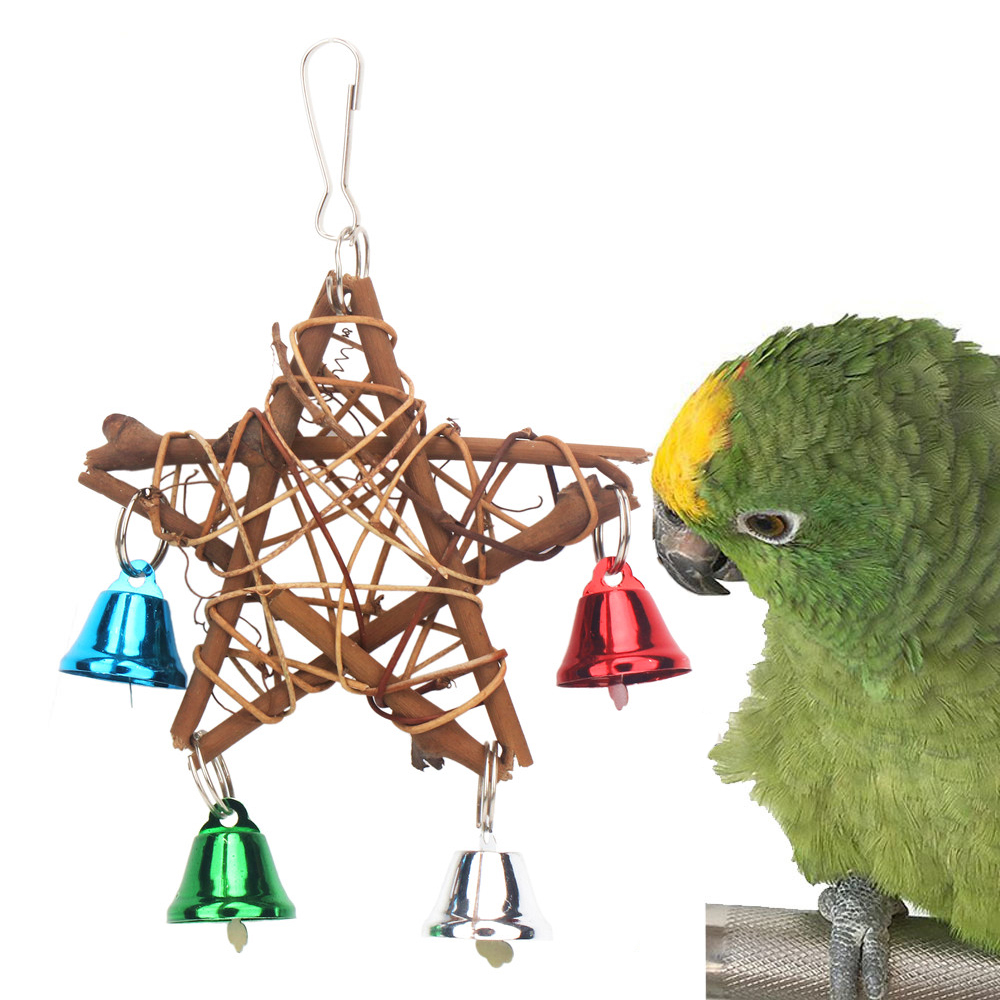 PipiFren Parrot Toys For Bird Pentagram Accessories Supplies Cockatiel Perch Toy Budgie Parakeet Cage Decoration Parkiet