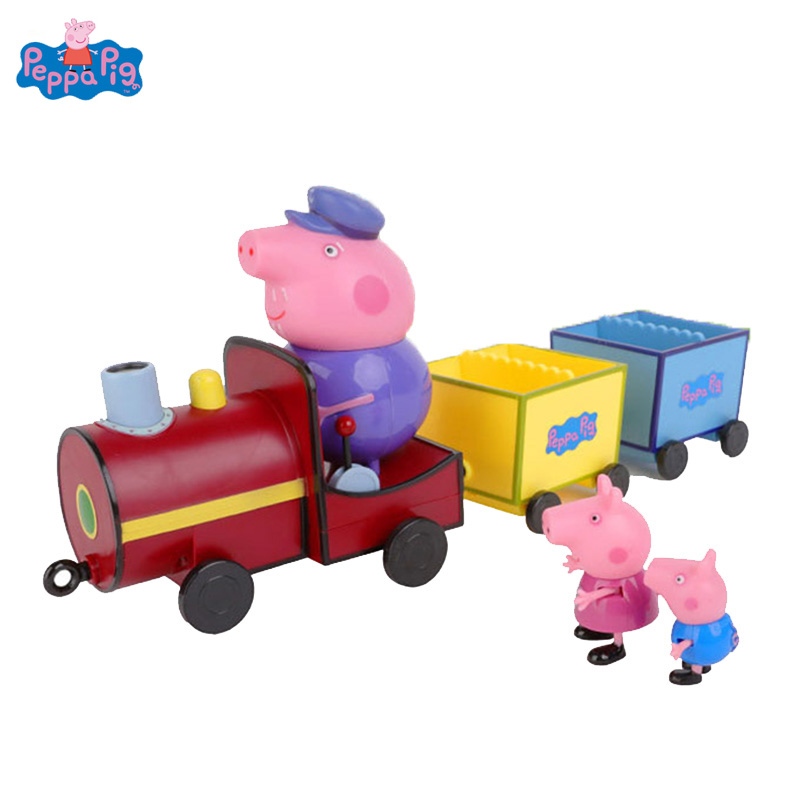 Peppa Pig Grandpa's Train DiY Model George Family Anime PVC Action Figure Toys For Kids Birthday Christmas Gift