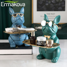 ERMAKOVA Nordic French Bulldog Sculpture Dog Figurine Statue Key Jewelry Storage Table Decoration Gift With Plate Glasses