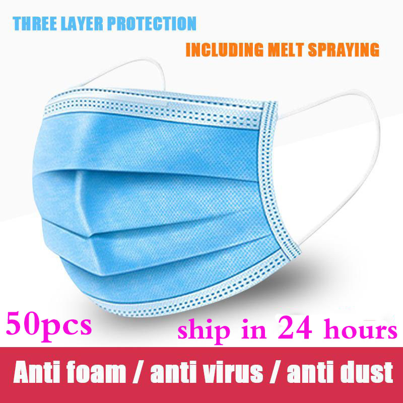 50pcs Mask Disposable 3 Layer Nonwove Ply Filter Mouth Face Mask Anti-dust Protective Mask