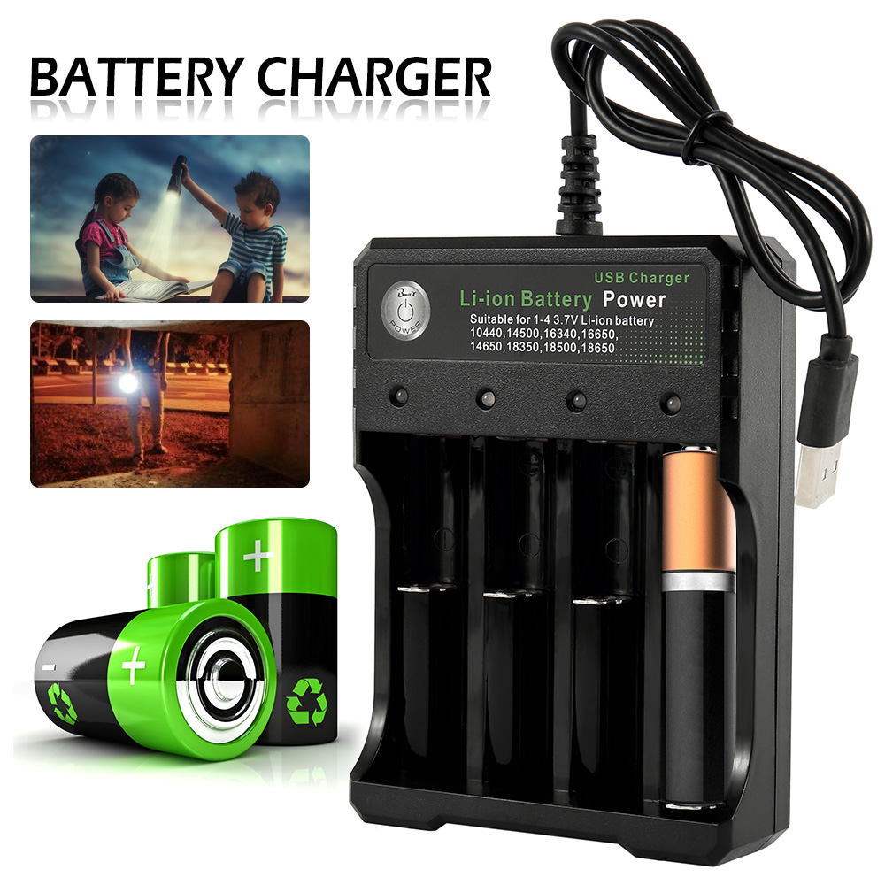 Compatible 10440 14500 16340 <font><b>16650</b></font> 14650 18350 18500 18650 USB <font><b>Battery</b></font> Charger Black 4 Slots Rechargeable Lithium <font><b>Battery</b></font> image