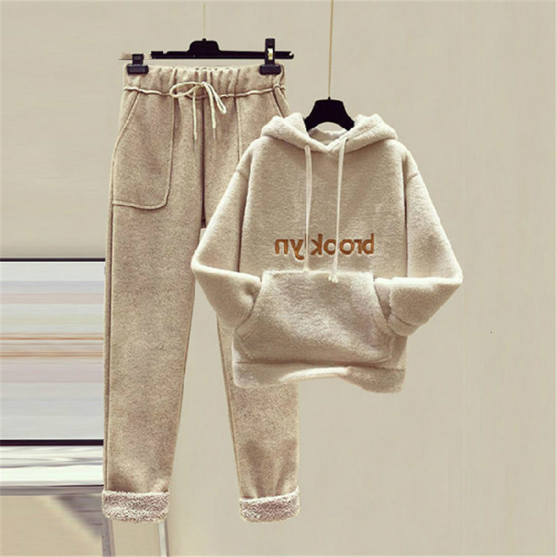 Plus Size Women Hooded Top And Pants Set Ladies Letter Print Pocket Warm Thicken Pullover Sweatshirts And High Waist Warm Set