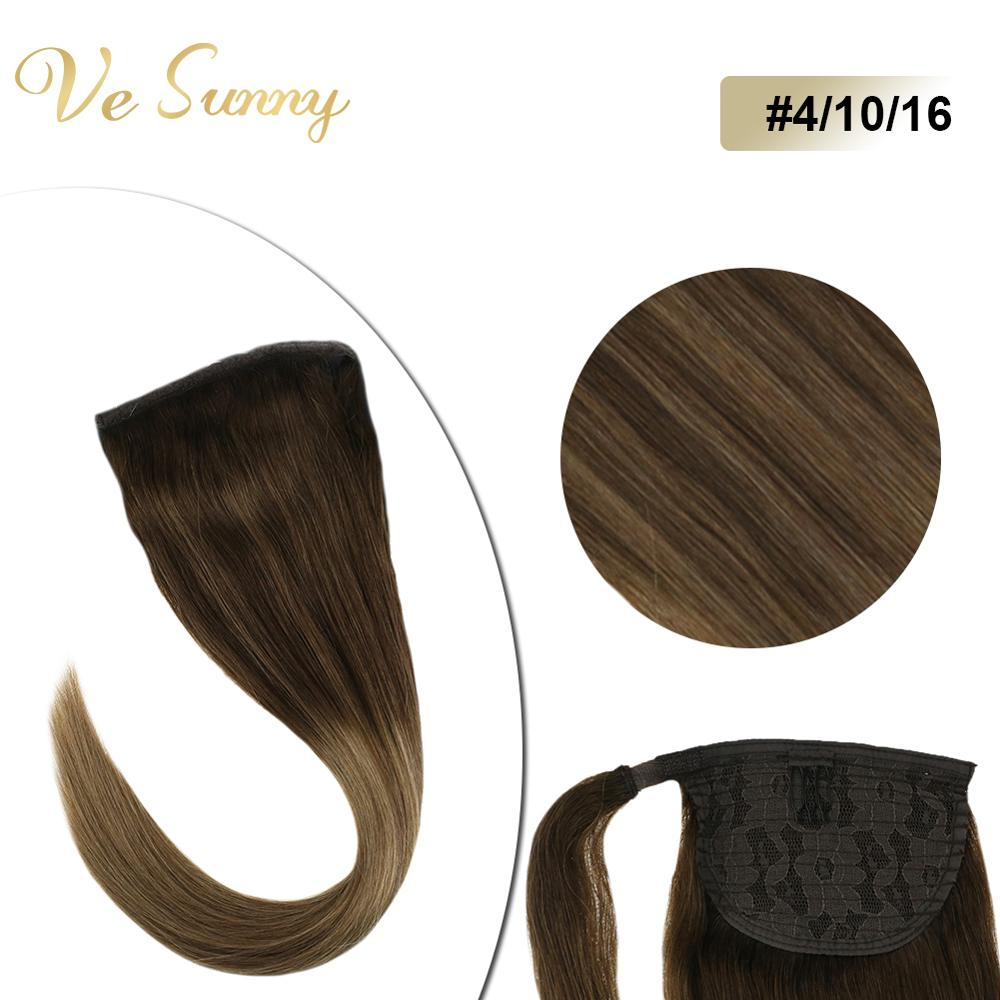 VeSunny Ponytail Extensions Wrap Around Magic Tape 100% Human Hair Balayage Brown #4/10/16