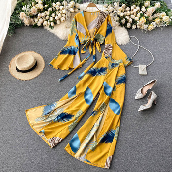 Bohemian Vacation Beach Two Piece Set Women Sexy V-Neck Bandage Short Tops + High Waist Split Wide Leg Pant Suit Spring Autumn 11