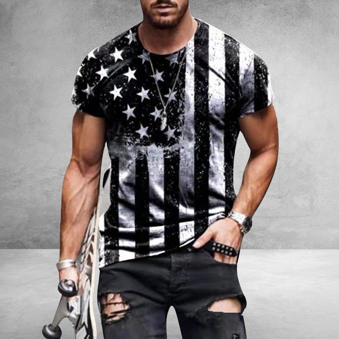 American Flag Printed Men's Casual Fashion T-shirt  2