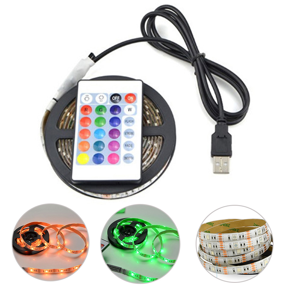 1M Waterproof LED Light Bar 5050 Remote Control Background Decoration Ip65 Universal Car Styling Computer RGB For TV Light Strip